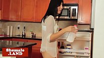 Busty tranny stroking her cock in kitchen
