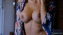 Gorgeous busty model interviewed and filmed on the set