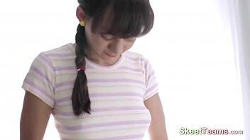 Pretty brunette enjoys her massage