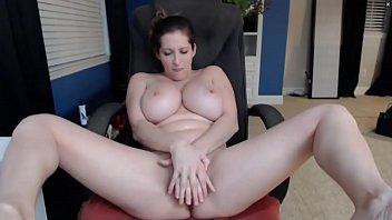 Busty White Woman Fucks Dildo and Sucks Tits - HornySlutCams.com 6 min