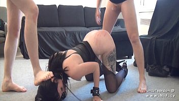 Gothic french slut screwed like a dog ass plugged and facialized in 3way