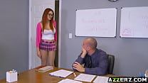 Busty redhead Skyla Novea seduced her hot prof