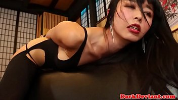 Scarified asian submissive rides masters dick
