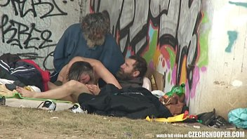 Pure Street Life Homeless Threesome Having Sex on Public 6 min