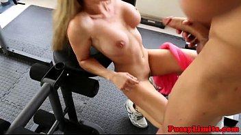 Bigboob skank brutally screwed in gym