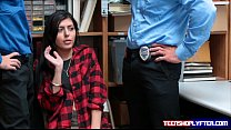 Teen thief audrey Royal fucks two security guards