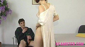 Jobtalk turns into horny fuck for pretty milf having a big sticky cumshot on tit