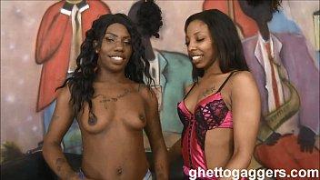 Real sisters Jalisa & Eboni Ice throat fucked until puking on cocks
