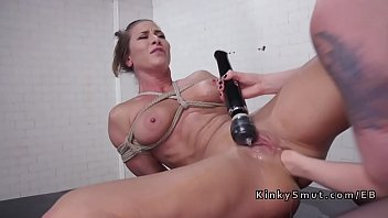 Bound brunette lesbo anal fisting and toying