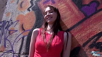 Cremapie in sunny day in public for super skinny babe