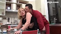 Gardener seduced by mature blonde for a great fuck in the kitchen