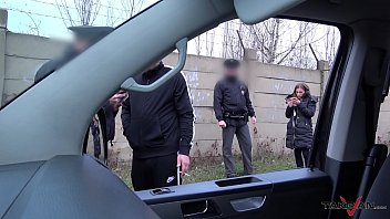 Hardcore action in driving van interrupted by real Police officers