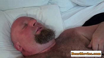 Leather fetish bear rimming ass while jerking