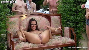 Melonechallenge Mea Melone & Wendy Moon fuck spanish guys in big orgy outdoors