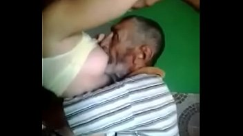 old man sucking young babe boobs