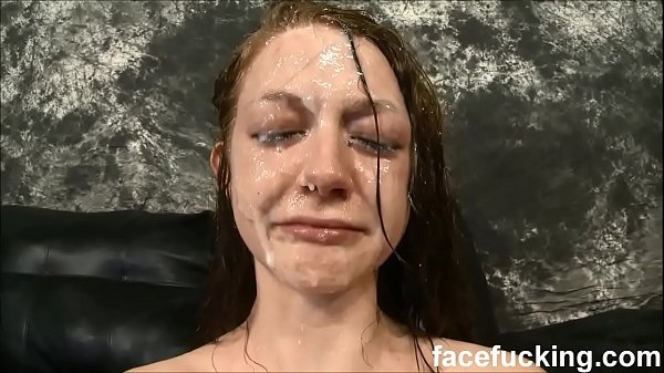 Skinny slut cries after b. face fucking and slapping