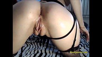 Sexy blonde diva spoils both her holes with a big dildo