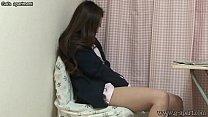 Japanese schoolgirl take off the panties and dildo masturbation