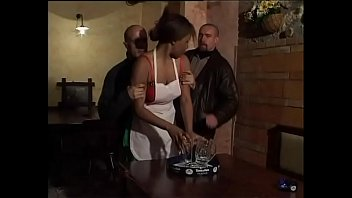 Sexy black maid fucked in the toilet
