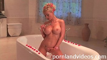 horny blonde slut Helena masturbating in bathroom