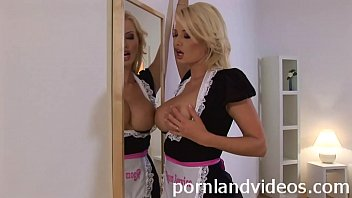 beautiful blonde Helena with big boobs in sexy maid dress