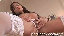 horny bride Diana in white lingerie touching pussy