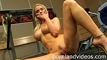 hot blonde teen Helena with big boobs masturbating pussy in gym