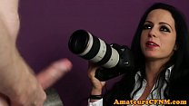 Busty CFNM babe jizzed on the casting couch