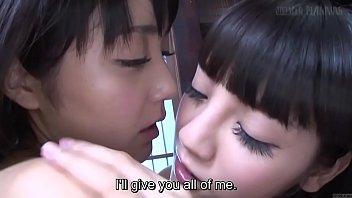 Subtitled JAV lesbian teens Sayo Arimoto and Rei Mizuna