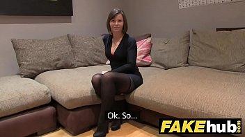 Fake Agent UK Randy brunette takes a big facial after hard fuck