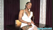 Inked ebony tgirl with round ass jacking solo