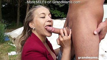 GrandMams.com Horny Grandmom Laura Fucks Young Stud