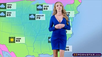 Busty weather chick gets fucked live on a TV studio