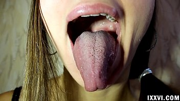 Fetish tongue Ananta Shakti and licking fingers