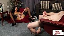 Stockinged british voyeur watches her sub tug