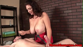 Mature masseuse ruins her clients orgasm