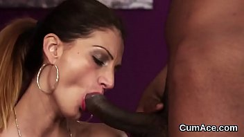 Hot honey gets cum load on her face gulping all the cum