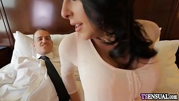 Escort service delivers super hot shemale to guys hotel room