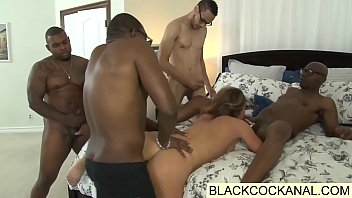 White pig whore ass fucked by gang of black monster cocks 5 min