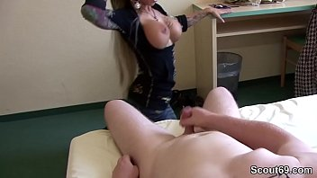 German Big tit Teen help Step-Bro with perfect Handjob