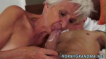 Grandmother cum in mouth