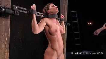 Toned busty slave dp toyed