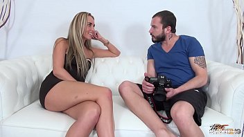 Tall blonde cheated on fake casting and fucked by agent