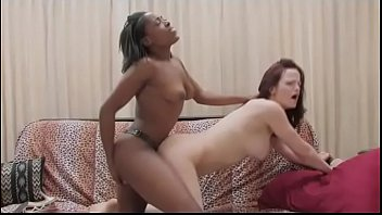Black lesbian bangs her white friend with a strapon