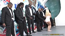 Jessie Volt Gives Blowjob To A Group Of Black Man