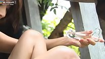 Lively Asian Girl With Perky Nipples Plays With A Glass Dild