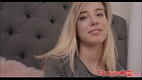 Hot Blonde Tiny Teen Stepsister Gets Bro's Load In Mouth