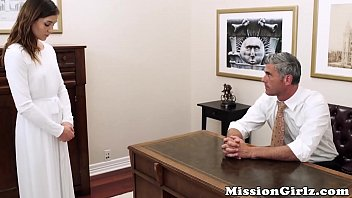 Mormon elder inspects virgin pussy before fingerfucking her