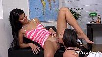 Lesbian Piss Drinking - Raven haired hotties soak each other in golden pee