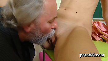 Kissable college girl gets tempted and fucked by her elderly lecturer